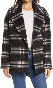 Halogen Barn Plaid Double Breasted Peacoat
