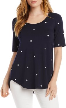 Star Print Shirttail Top