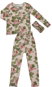Infant Girl's Baby Grey By Everly Grey Charlie Fitted Two-Piece Pajamas & Head Wrap Set