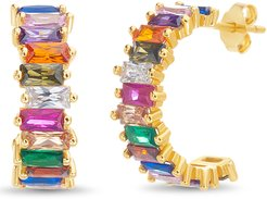 Baguette Rainbow Cubic Zirconia Hoop Earrings