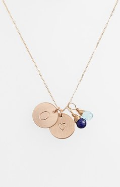 Blue Quartz Initial & Heart 14K-Gold Fill Disc Necklace