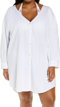Plus Size Women's Chelsea28 Oversize Button-Up Cover-Up