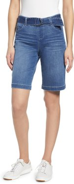 Thelma Pull-On Belted Denim Bermuda Shorts