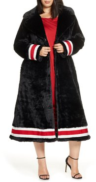 Plus Size Women's Coldesina Grosgrain Ribbon Trim Faux Fur Swing Coat
