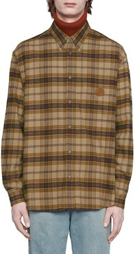 Plaid Logo Leather Patch Flannel Button-Down Shirt
