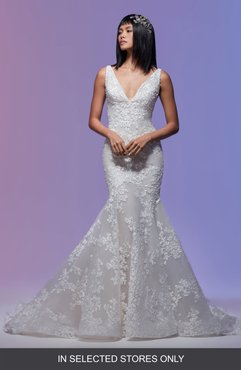 Vivien 3D Embroidered Tulle Mermaid Wedding Dress, Size - Ivory