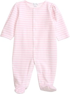 Infant Girl's Kissy Kissy Stripe Velour Footie