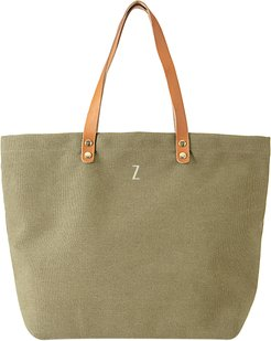 Monogram Washed Canvas Tote - Green