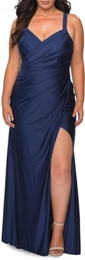 Plus Size Women's La Femme Ruched Satin Jersey Gown