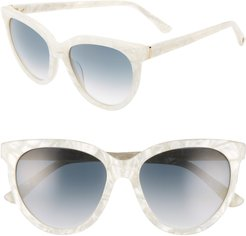 Beverly 55mm Cat Eye Sunglasses - Pearl Marble/ Grey Gradient