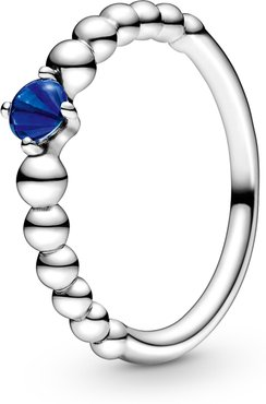 Sea Blue Beaded Stacking Ring