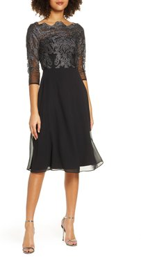 Myara Glitter Embroidered Lace Cocktail Dress