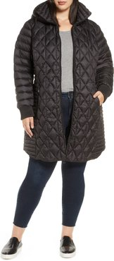 Plus Size Women's Bernardo Multi Quilt Packable Hooded Puffer Coat