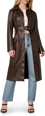 Julian Snake Embossed Faux Leather Trench Coat