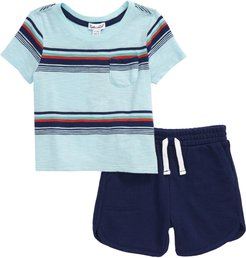Infant Boy's Splendid Bright Stripe T-Shirt & Shorts Set