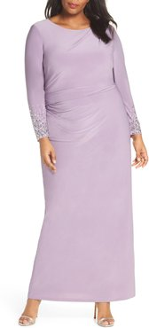 Plus Size Women's Vince Camuto Embellished Sleeve Ruched Evening Dress