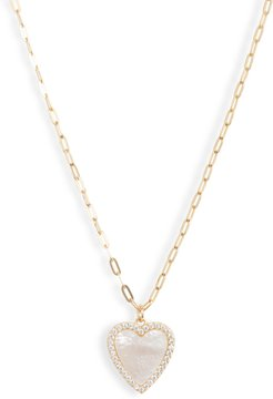 Mother-Of-Pearl Heart Pendant Necklace