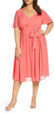 Plus Size Women's Maison Tara Flutter Sleeve Gathered Chiffon Midi Dress