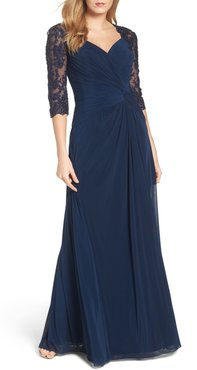 Lace & Net Ruched Twist Front Gown