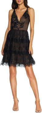 Nellie Sequin Lace Fit & Flare Minidress