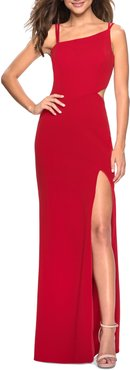 High Slit Strappy Back Evening Gown