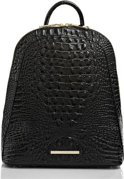 Large Rosemary Croc Embossed Leather Backpack - Black
