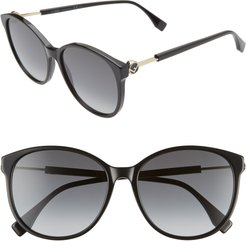 58Mm Gradient Cat Eye Sunglasses - Black/ Dark Grey