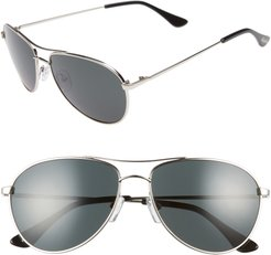Orville 58mm Mirrored Aviator Sunglasses - Silver/ Grey