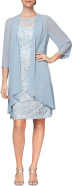 Sequin Lace Sheath Dress & Chiffon Jacket