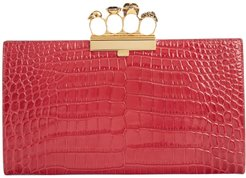 Croc Embossed Leather Knuckle Clutch - Pink
