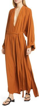 Mabelin Plunge Neck Long Sleeve Maxi Dress