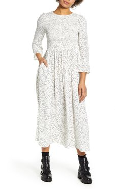 Polka Dot Smocked Bodice Midi Dress
