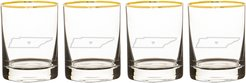 State Love Set Of 4 Gold Rimmed Whiskey Glasses