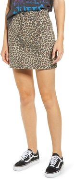 Denim Leopard Print Denim Miniskirt