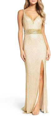 Beaded Mesh Gown