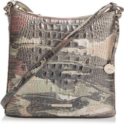 Katie Croc Embossed Leather Crossbody Bag - Grey