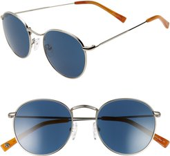 Charlie 50mm Mirrored Round Sunglasses - Silver/ Indigo Blue
