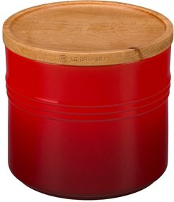 Glazed Stoneware 1 1/2 Quart Storage Canister With Wooden Lid