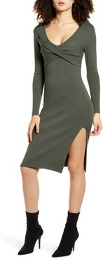 Twist Front Long Sleeve Sweater Dress