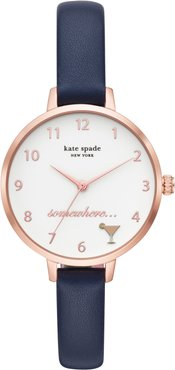 Metro 5 O'Clock Somewhere Leather Strap Watch, 34Mm