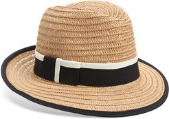 Halogen Tipped Straw Panama Hat -