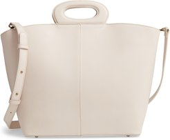 Large Faux Leather Tote - Ivory