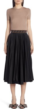Ff Band Pleated A-Line Midi Skirt