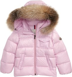 Toddler Girl's Moncler K2 Water Resistant Hooded Down Jacket With Genuine Fox Fur Trim