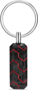 'Forged Carbon' Key Chain With Red Resin - Red