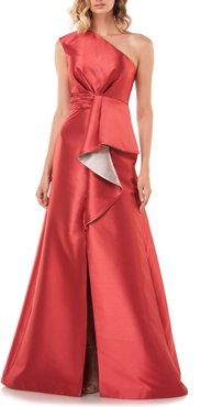 Riley One-Shoulder Ruffle Gown