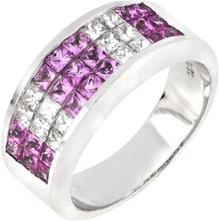 Bony Levy El Mar 18K White Gold Channel Set Pink Sapphire & Diamond Wide Band Ring - Size 6.5 at Nordstrom Rack