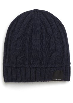 Cabled Merino Wool Toque Beanie - Blue