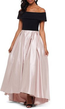 High/low Off The Shoulder Velvet & Satin Ballgown