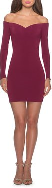 Off The Shoulder Long Sleeve Body-Con Minidress